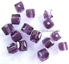 Purple Glass 4mm 5x6mm Square Cube Faceted Beads 100 pcs
