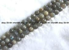 6,8,10,12,14,16mm Natural Labradorite Round Faceted Beads 15''