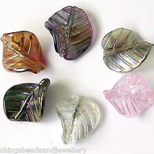 20 Lampwork Glass Leaf Beads 33x27mm Jewellery Making UK Seller✔ Low Price ✔