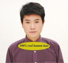 Men 's short full wig wigs hairpiece,100% Real natural human hair Can be restyle