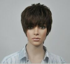 Men 's short full wig wigs hairpiece toupee,100% real natural human hair -L25