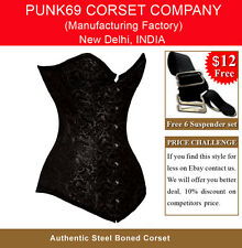 New Fully Steel Boned Extra Long Black Brocade Tight Lacing Corset EB-9051- 5010