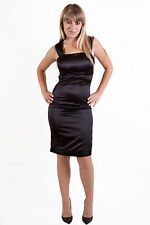 New Stunning Satin Short Evening Party Prom Dress in Black and Red UK Item