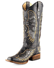 Corral Women's Cowboy Western Boots Black/Silver/Gold Wing & Cross Sq. Toe A1986