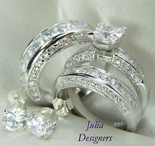 His & Her Matching 3pcs Engagement Wedding Ring Set Sterling Silver Size 4-13½
