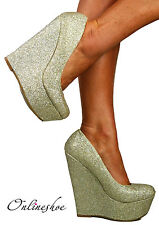 LADIES SUPER GLITTERY GOLD WEDGE HEELS PLATFORM SHOE SANDAL EVENING PARTY 3-8