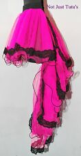 MOULIN ROUGE 7 TAIL BURLESQUE WITH TUTU PINK WITH BLACK LACE TRIM ADULT CHILD