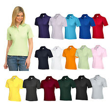 New Womens Ladies Pique Polo Shirt 15+ Colours Sizes 8- 22