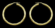 9ct Gold Plated On Sterling Silver Small Med Large Twisted Hoop Sleeper Earrings