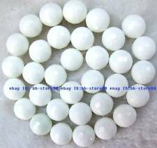 4,6,8,10,12,14,16,18,20mm White Porcelain round faceted Gemstone Beads 15""