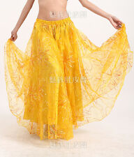 Belly Dance two-layered Embroidery Big Skirt Costume Dress 9 colours