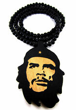 "Wooden Che Guevara Pendant Piece 36"" Chain Bead Necklace All Good Wood Style"