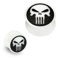Pair Organic Buffalo Bone Horn Inlay Skull Ear Plugs Tunnels Earlets Gauges