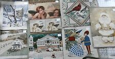 TAPESTRY unfinished fabric squares woven poly/cotton winter & Christmas scenes