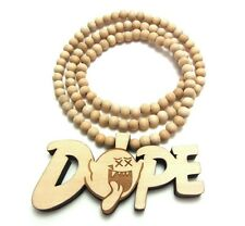 """Wooden Mario Ghost Dope Boo Pendant 36"""" Chain Bead Necklace All Good Wood Style"""