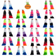 TRI COLOUR FLUFFY LEGWARMERS RAVE CYBER FLUFFIES FURRIES HEN PARTY