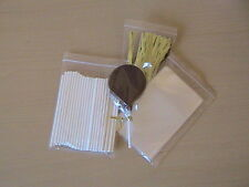 "25 x 114mm 4.5"" WHITE PLASTIC LOLLIPOP CAKE POP KIT 3"" X 5""CELLO BAG TWIST TIE"