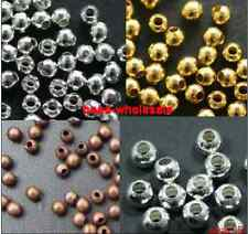 Silver/Golden/Nickel/Copper Metal Round Findings Spacer Beads For Craft 2mm