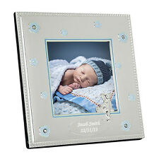 PERSONALISED BABY BOY GIRL SILVER PHOTOGRAPH FRAME Newborn Christening Gift Idea