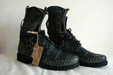 Men's Bed Stu Boots Original Genuine Washed Black Leather Mens Size Hand Crafted