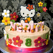 NEW Edible HELLO KITTY Birthday Cake Sugarpaste Topper Icing upto 36 DECORATIONS