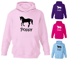 NEW GIRLS PERSONALISED HORSE HOODY HOODIES HORSE RIDING