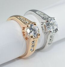 SALE White Gold Filled Ring use Swarovski Crystal Size L O Q S  R112 - 4 choices