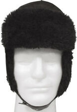 Black Military Russian Style Trooper Hat With Ear Flaps