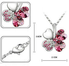 New 18K GP Swarovski Crystal Lucky Clover Fashion Necklace 6 colour U pick 0353d