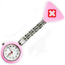 QUALITY QUARTZ NURSE MIDWIVES CLIP ONN FOB WATCH STAINLESS STEEL
