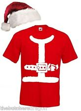 Mens Santa Jacket Festive Father Christmas Printed T-shirt & Hat Fancy Dress
