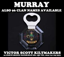 MURRAY CLAN CRESTED TARTAN MAGNETIC BOTTLE OPENER 96 DIFFERENT CLAN NAMES
