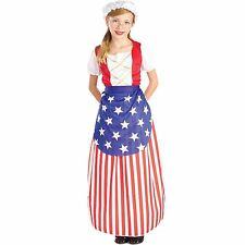 CHILD GIRLS BETSY ROSS Patriotic Fourth of July Halloween Costume Dress Up