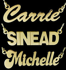 375 SOLID 9CT GOLD LARGE PERSONALISED CARRIE ANY NAME PLATE NECKLACE & CHAIN UK