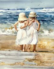 "GIRLS SISTERS ""Beach Skippers"" Watercolor Painting Art Print Giclee JUDITH STEIN"