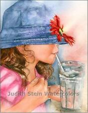 "SODA POP GIRL ""Blue Hat Girl"" Watercolor Painting Art Print Giclee JUDITH STEIN"