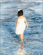 "BEACH GIRL STROLL ""Ready for Wading"" Watercolor Painting Art Print JUDITH STEIN"
