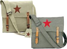 Vintage Military Red China Star Canvas Shoulder Bag