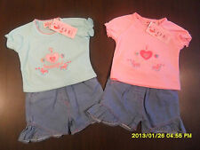 GIRLS SHORTS AND T-SHIRT SET BABY OUTFIT SUMMER CLOTHING DENIM EMBROIDERED NEW
