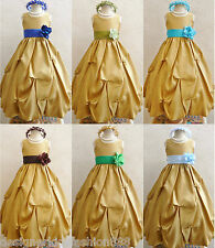 GOLD BLUE TURQUOISE NAVY BROWN GREEN RECITAL FLOWER GIRL DRESS 2 4 6 8 10 12 14