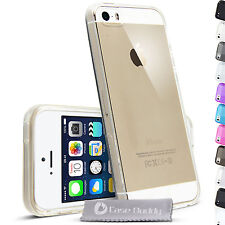 Silicone Gel Cover and Screen Protector for iPhone 5S Transparent Case 0.3 mm