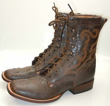 "LUCCHESE Since 1883 M0019 Brown Vintage Calf Leather Lace Up 8"" Mens Roper Boots"