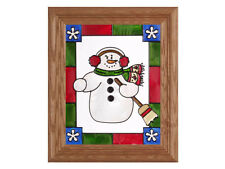 Christmas Holidays 10.5x12.5 Hand Painted Stained Art Glass Window Suncatcher