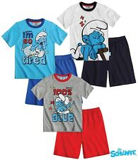 New Boys Smurfs Shorts & T-shirt Set Smurfs Pyjamas Set Age 3-10 Years
