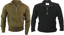 Mens Military Army Commando Quarter Zip U Acrylic Sweater with Patches