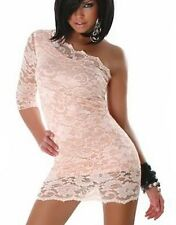 New womens sexy one sleeve floral lace summer party dress going out size 6-16 uk