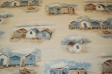 ROMAN BLIND in FRENCH BEACH HUTS Designer Fabric MADE TO MEASURE Nautical Theme