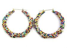 BLING BASKETBALL WIVES POPARAZZI HIP HOP MULTICOLOR SPANGLE ROUND HOOP EARRINGS