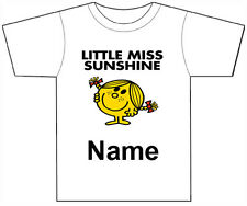 PERSONALISED LITTLE MISS SUNSHINE T-SHIRT PRINTED WITH ANY CHILDS NAME GIRLS