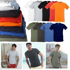 FOTL Fruit of the Loom Mens T-Shirt Slim Fit Plain Fitted Top Clothing New S-XXL